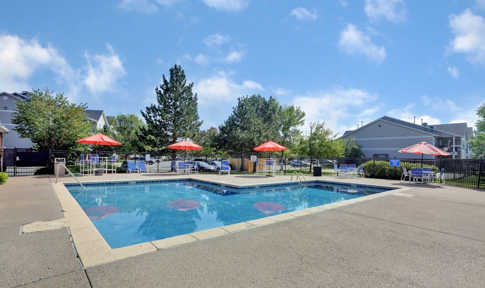 Swimming pool at Buffalo Run Apartments in Fort Collins, Colorado