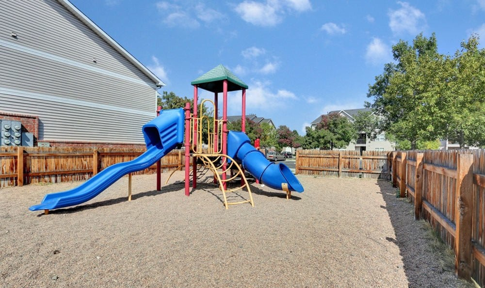 Newly updated playground at apartments in Fort Collins, Colorado
