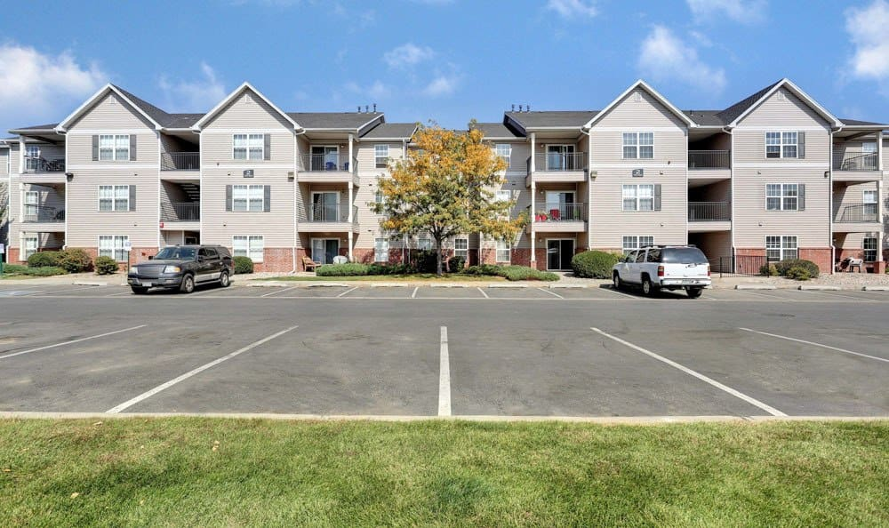 Spacious parking area at apartments in Fort Collins, Colorado