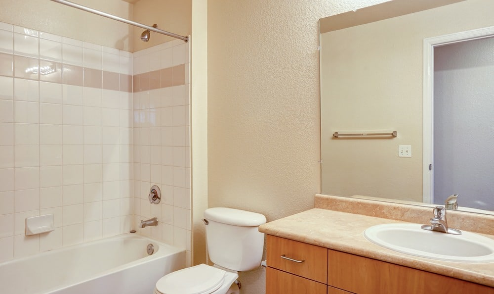Bathroom at Diamond at Prospect Apartments in Denver, Colorado