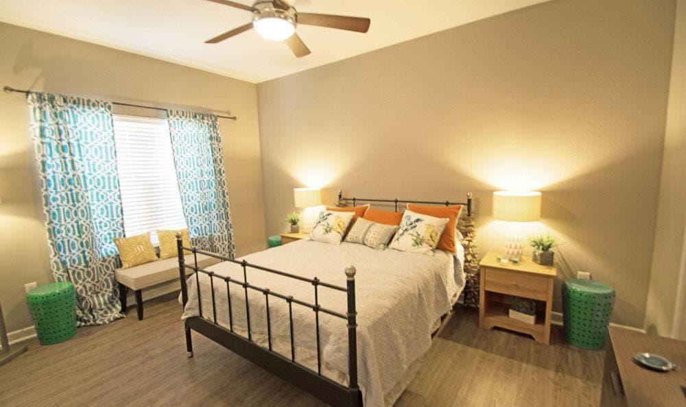 Beautiful bedroom at The Niche Apartments in San Antonio, Texas