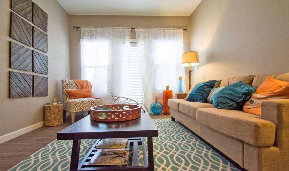 The Niche Apartments offers a spacious living room in San Antonio, Texas