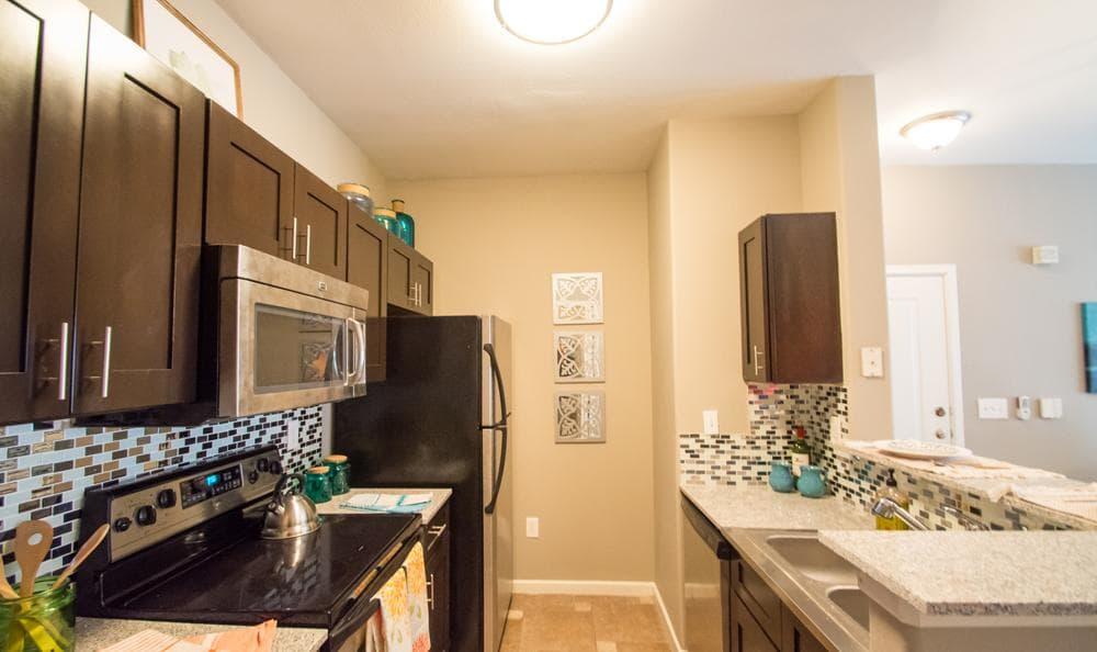 The Niche Apartments offers a spacious kitchen in San Antonio, Texas