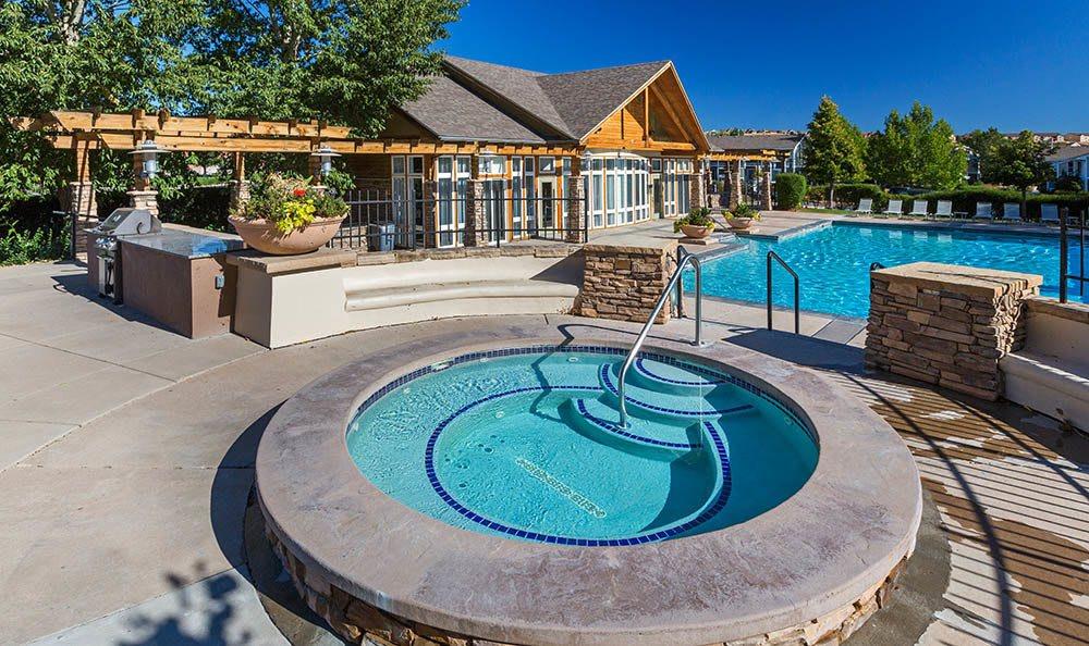Outdoor hot tub at Broadmoor Ridge Apartment Homes in Colorado Springs