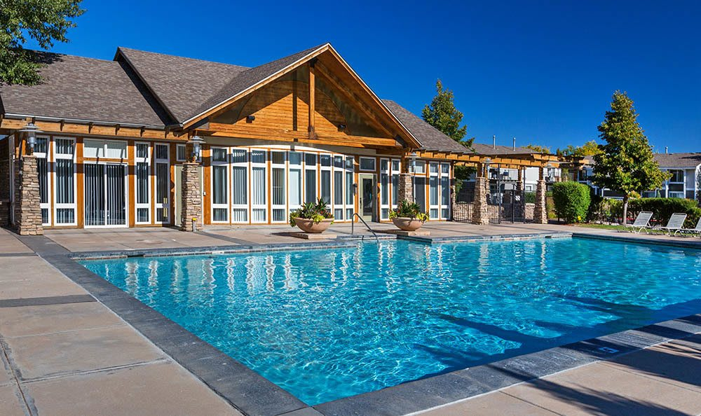 Swimming pool area at Colorado Springs apartments