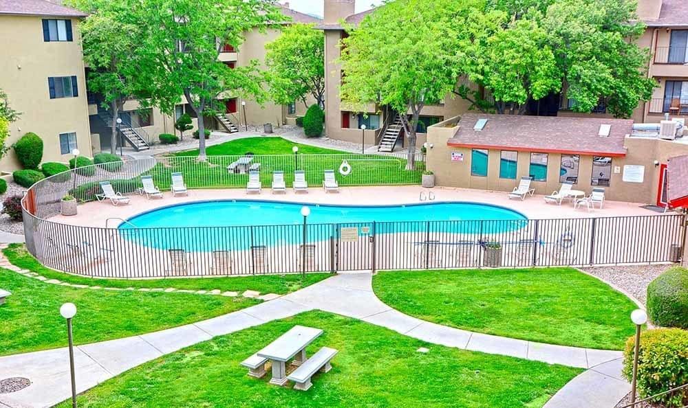 Sparkling pool at Albuquerque apartments