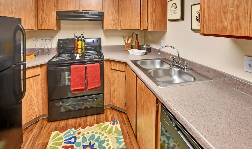 Beautiful kitchen at Cherry Creek Apartments in Riverdale, Utah
