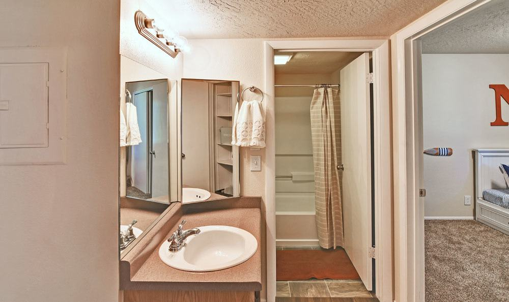 Beautiful bathroom at Cherry Creek Apartments in Riverdale, Utah
