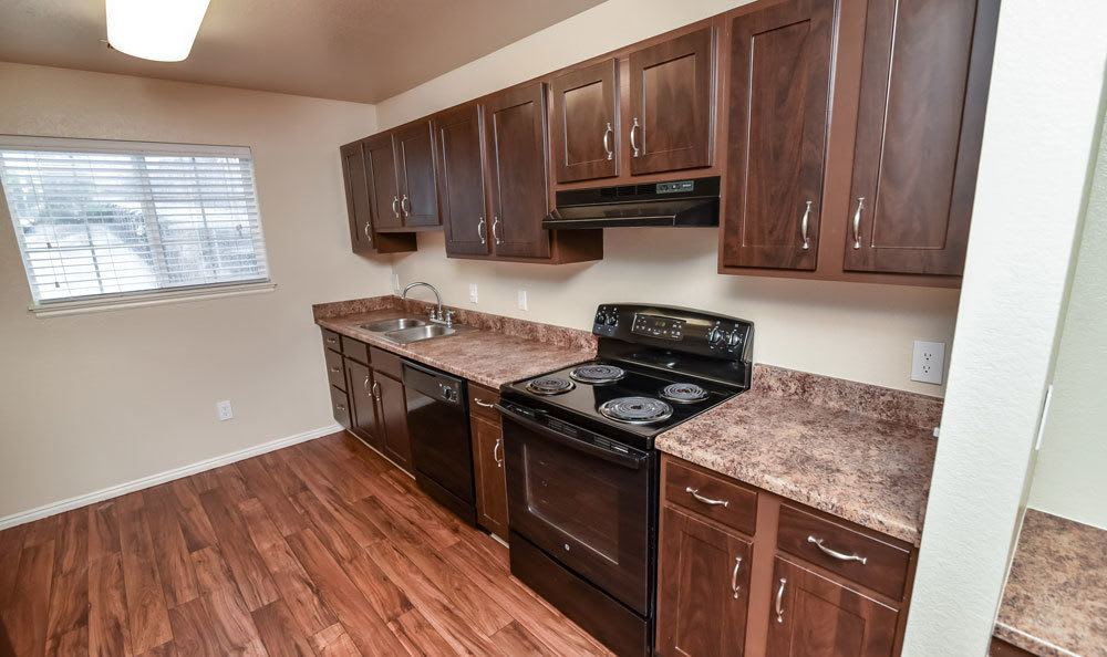 Hardwood floor open kitchen at our Bountiful apartments