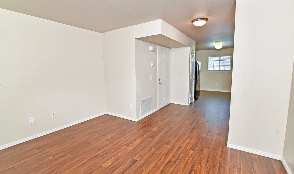 Spacious hardwood floor living room at  our Bountiful apartments