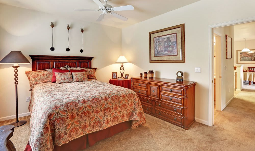 Enjoy apartments with a spacious bedroom at Platte View Landing in Brighton, CO
