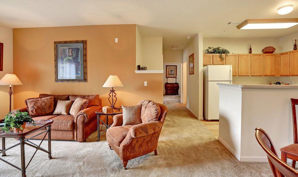 Spacious living room at Platte View Landing in Brighton, Colorado