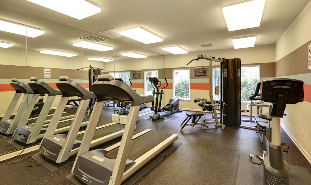 Enjoy apartments with a fitness center at Platte View Landing