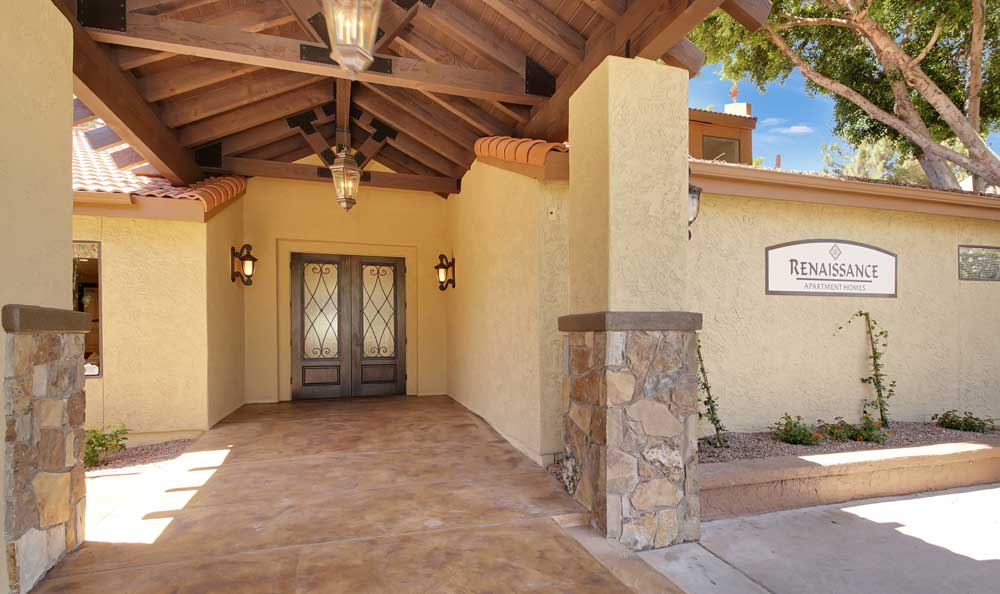 Front entrance at Renaissance Apartment Homes in Phoenix, Arizona