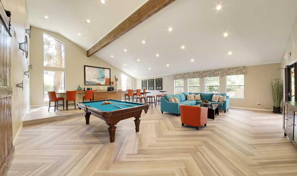 Phoenix apartments includes a clubhouse and pool table