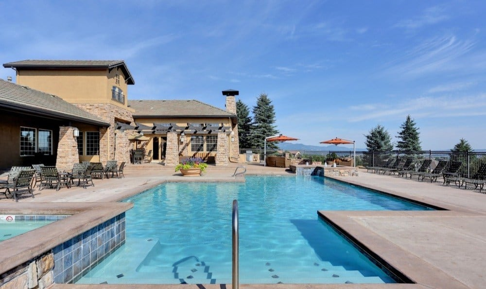 Beautiful swimming pool at Resort at University Park in Colorado Springs, Colorado