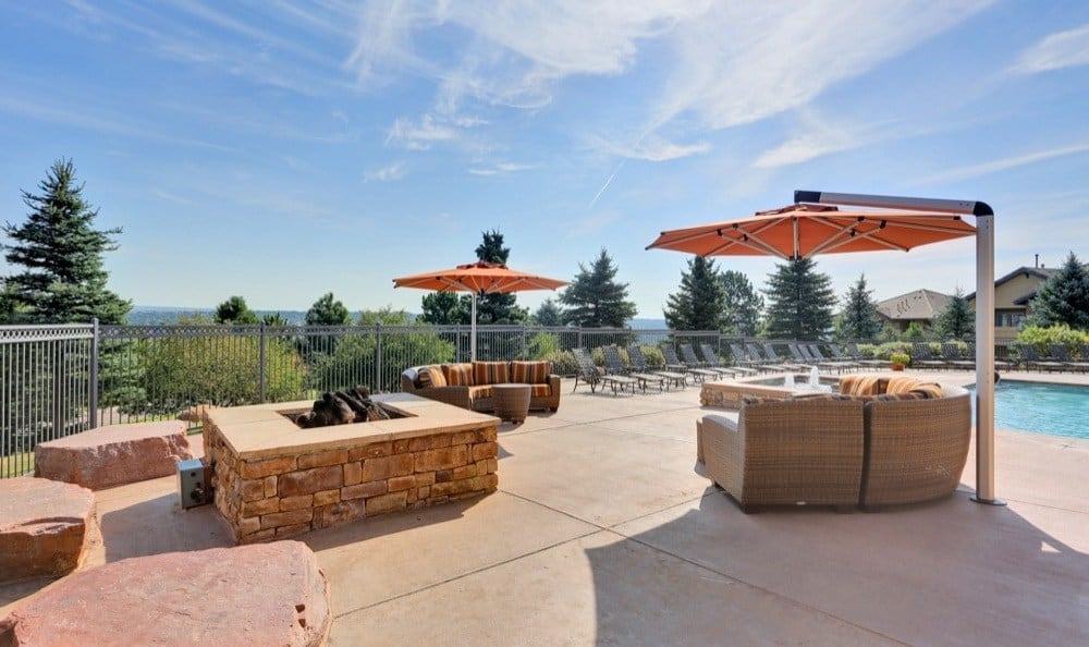 Outdoor firepit that is great for entertaining at apartments in Colorado Springs, Colorado