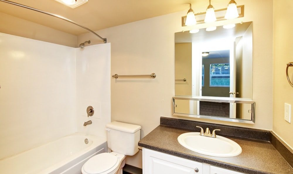 Spacious bathroom at Bradford Park Apartments in Lynnwood, Washington