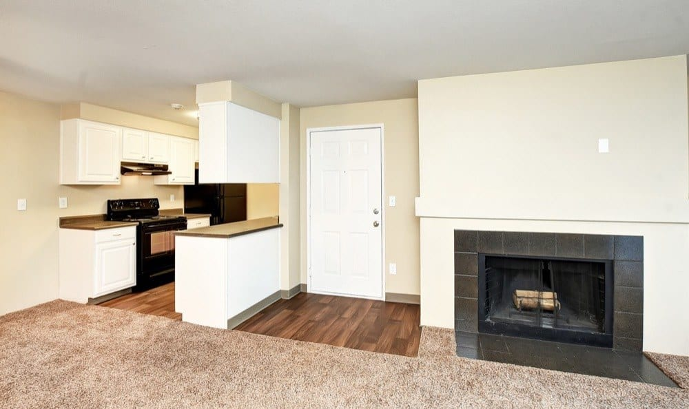 Beautiful living room and fireplace at apartments in Lynnwood, Washington