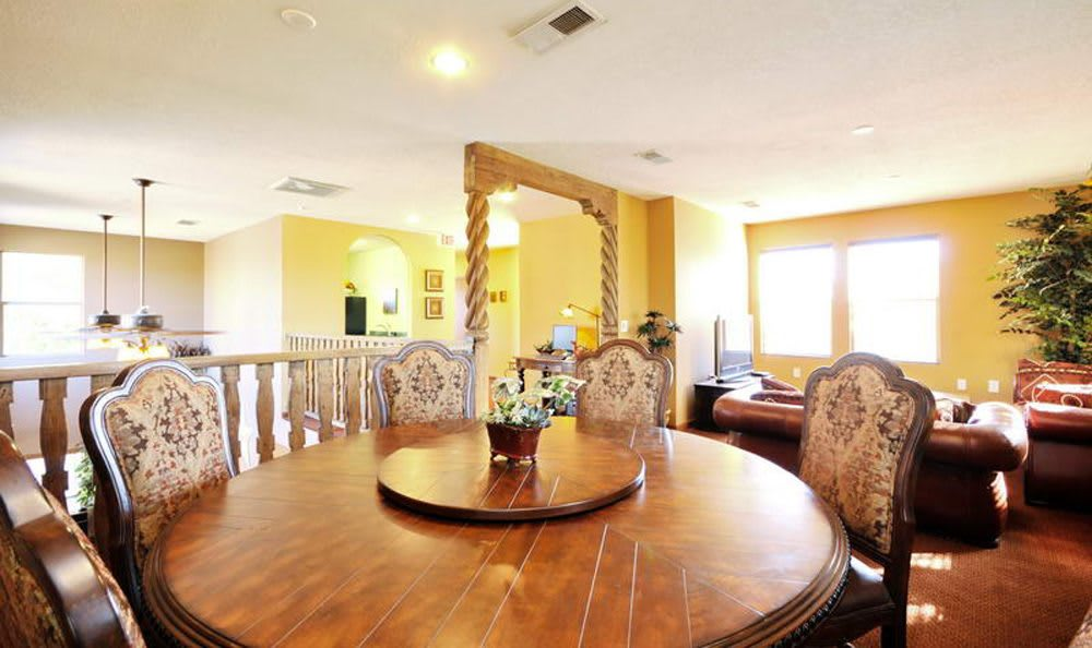 Las Kivas Apartments offers a dining room in the clubhouse in Albuquerque, New Mexico