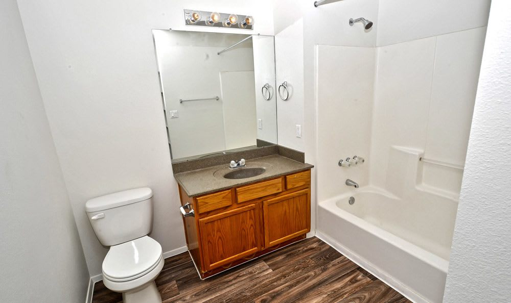 Spacious bathroom at Las Kivas Apartments in Albuquerque, New Mexico