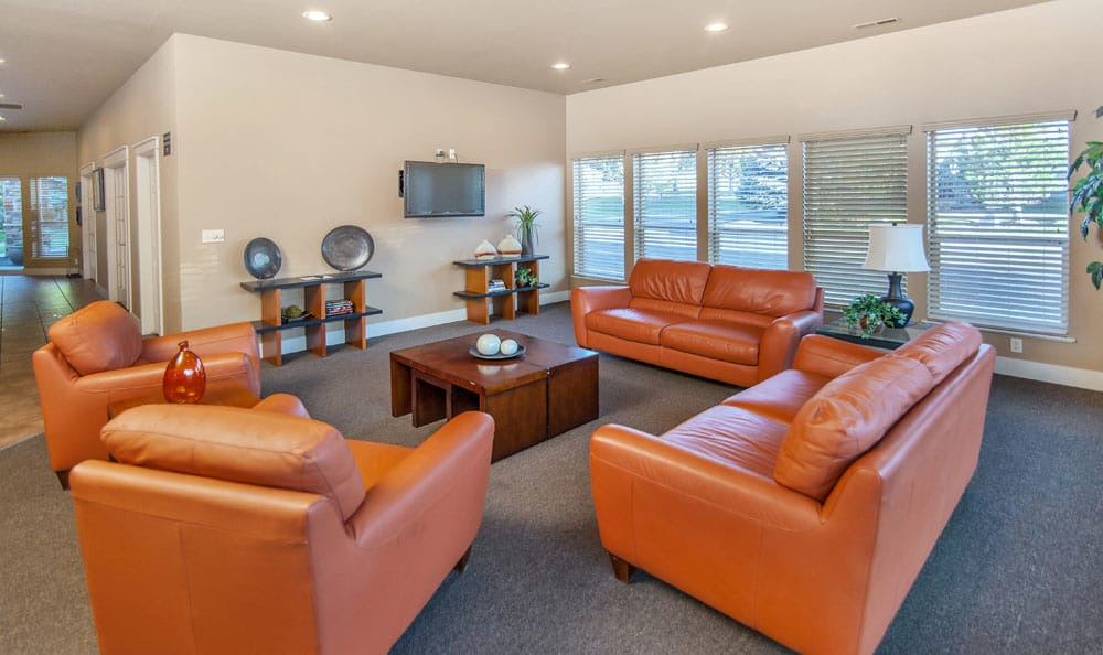 Beautiful clubhouse living room at Monterra Townhomes in Boise, Idaho