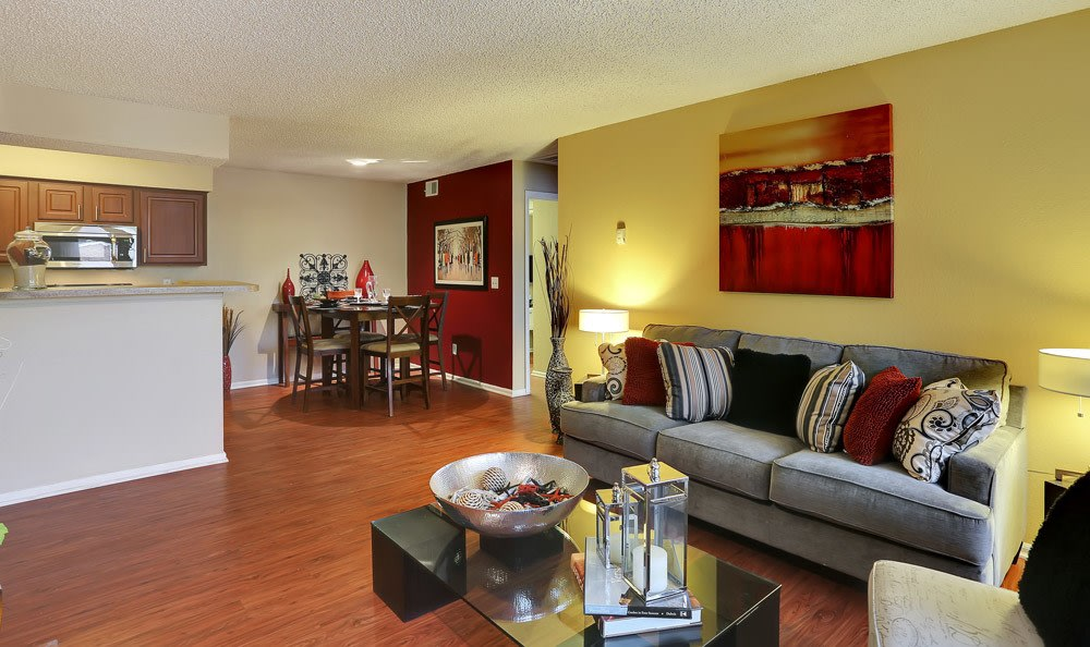 Lliving room at Mountain View Apartment Homes in Colorado Springs, Colorado