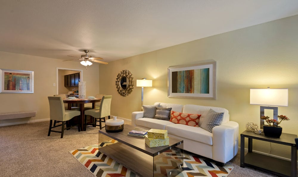 Beautiful living room at Villages at Parktown Apartments in Deer Park, Texas