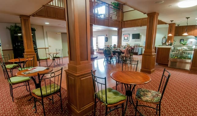 Dining room at Pioneer Village, senior living in Jacksonville, OR