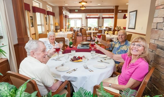 Enjoy a glass of wine with friends at Pioneer Village, senior living in Jacksonville, OR