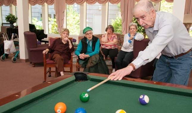Enjoy Billiards with friends at Baycrest Village, senior living in North Bend, OR