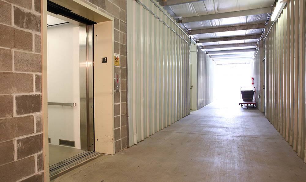 Interior self storage elevator and wide access way in St. Louis