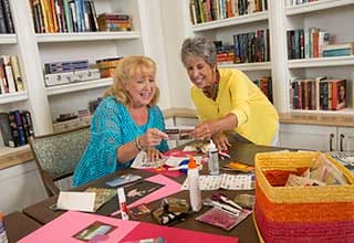 Senior living residents crafting in Richmond