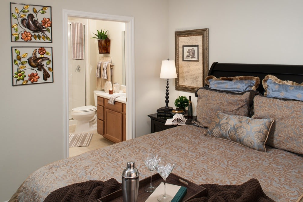 Beautifully appointed bedrooms in Lewisville senior living apartments