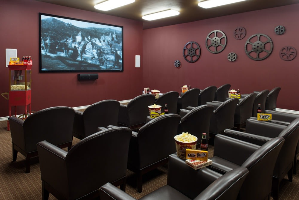 Come enjoy a movie in our private movie viewing room at our senior living apartments in Lewisville