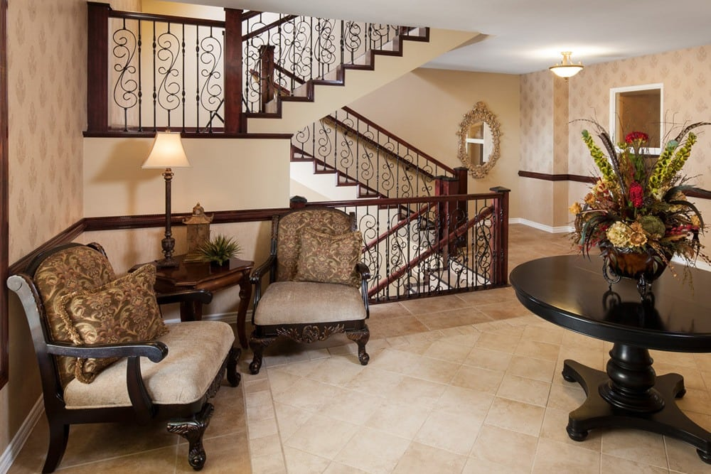 Seating by the grand staircase in our apartments in Lewisville