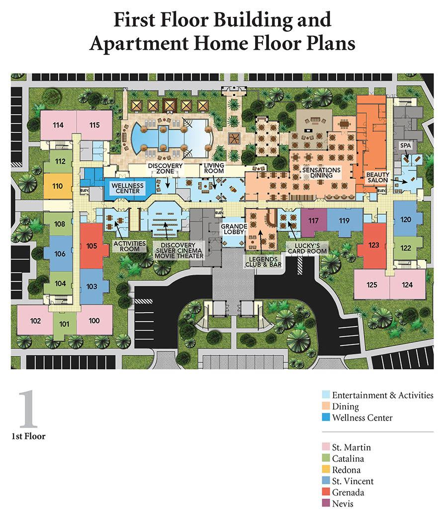 Diagram of first floor apartments layout at Discovery Village At The Forum - Independent Living