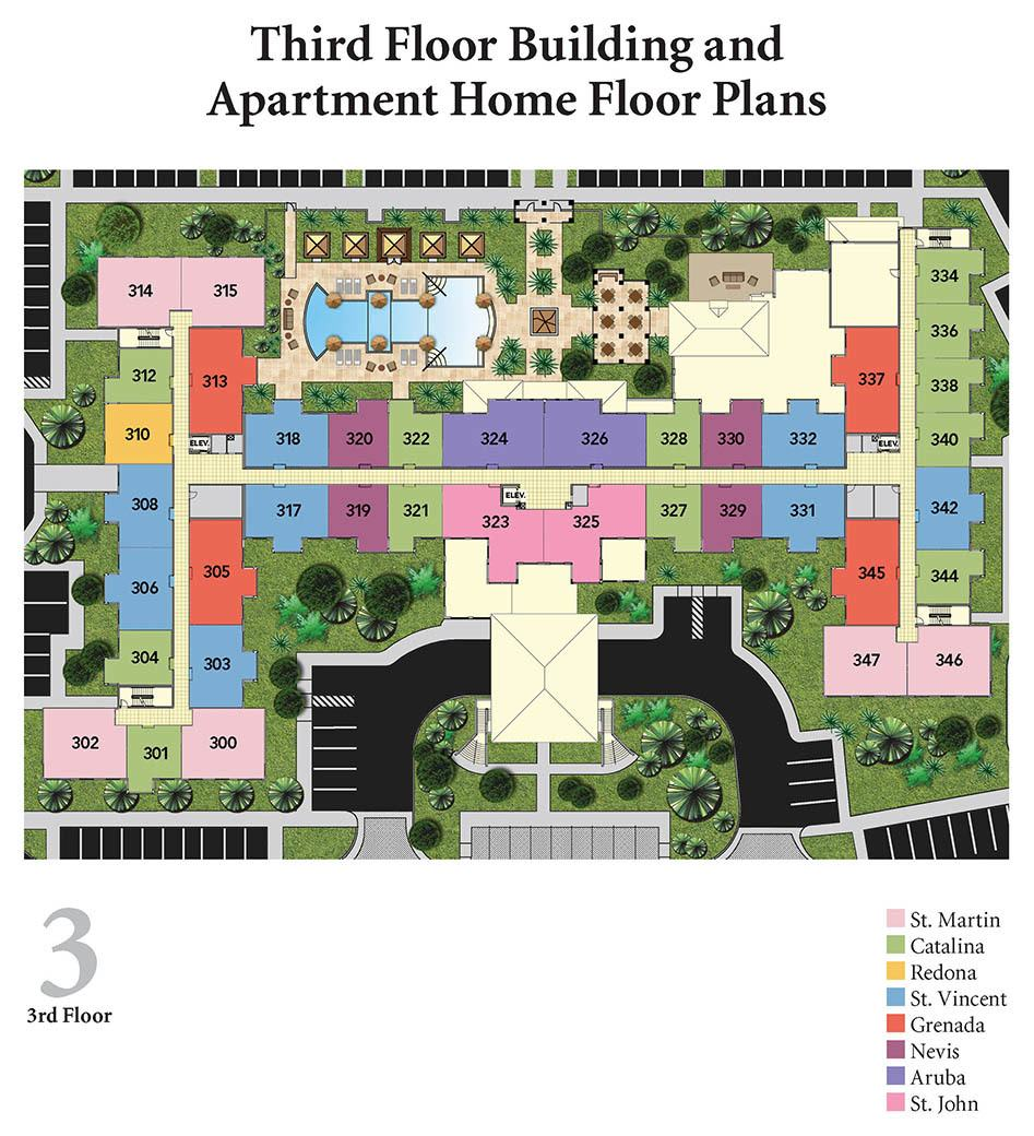 Diagram of third floor apartments layout at Discovery Village At The Forum - Independent Living