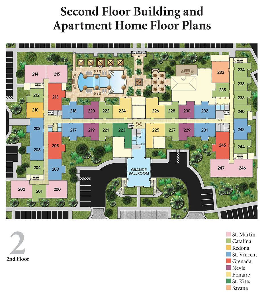 Diagram of second floor apartments layout at Discovery Village At The Forum - Independent Living