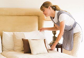 Senior living community with housekeeping and linens service