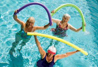 Pool fun for active senior living residents in Florida