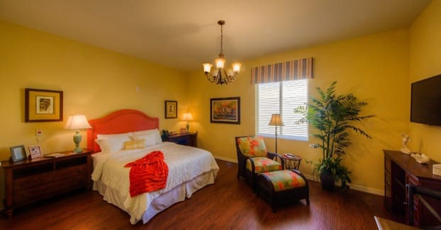 A bedroom in one of our beautiful senior living apartments
