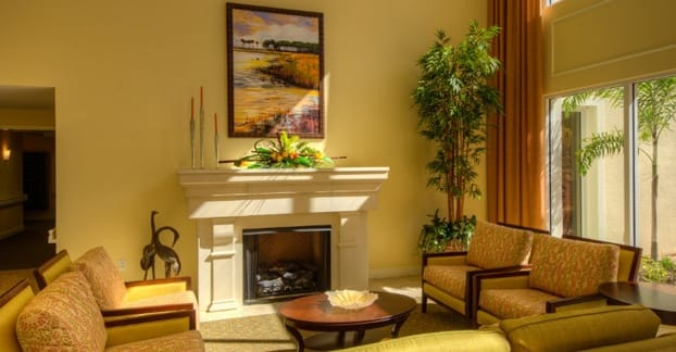 Relax by the fire at our Fort Myers senior living community