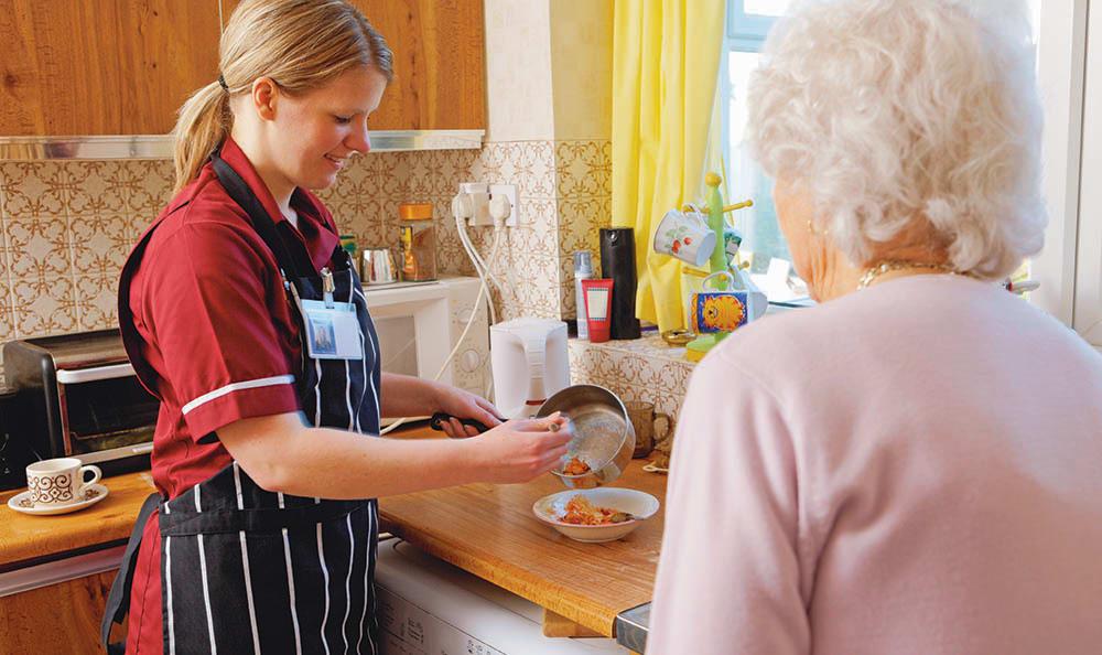 Fort Myers home health senior living nurse cooking