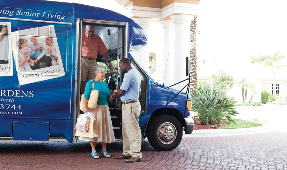 Senior living bus in Fort Myers