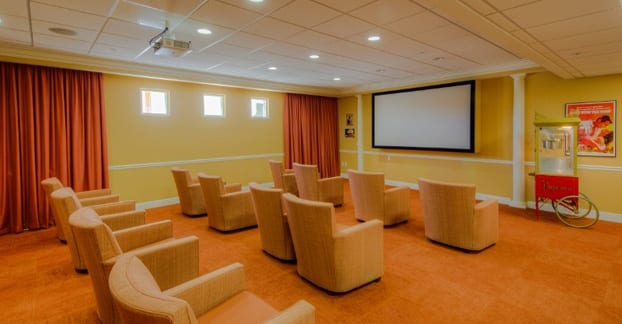 Senior living residents in Fort Myers enjoy access to a private movie theater