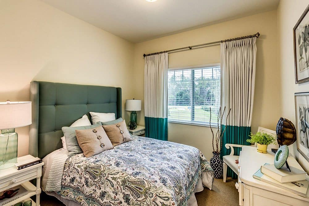 Interior bedroom view of our luxury senior living apartments