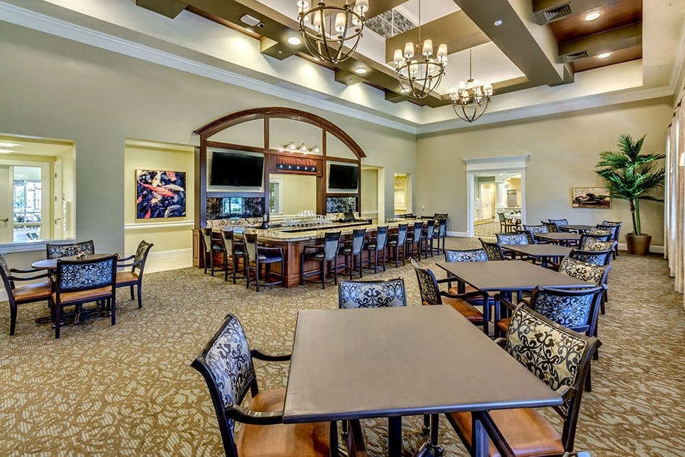 Luxury lounge for senior living residents in Naples