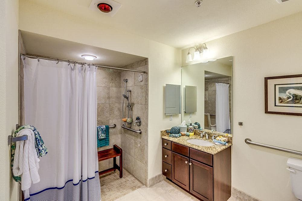 Spacious and luxury bathrooms in our Naples senior living apartments