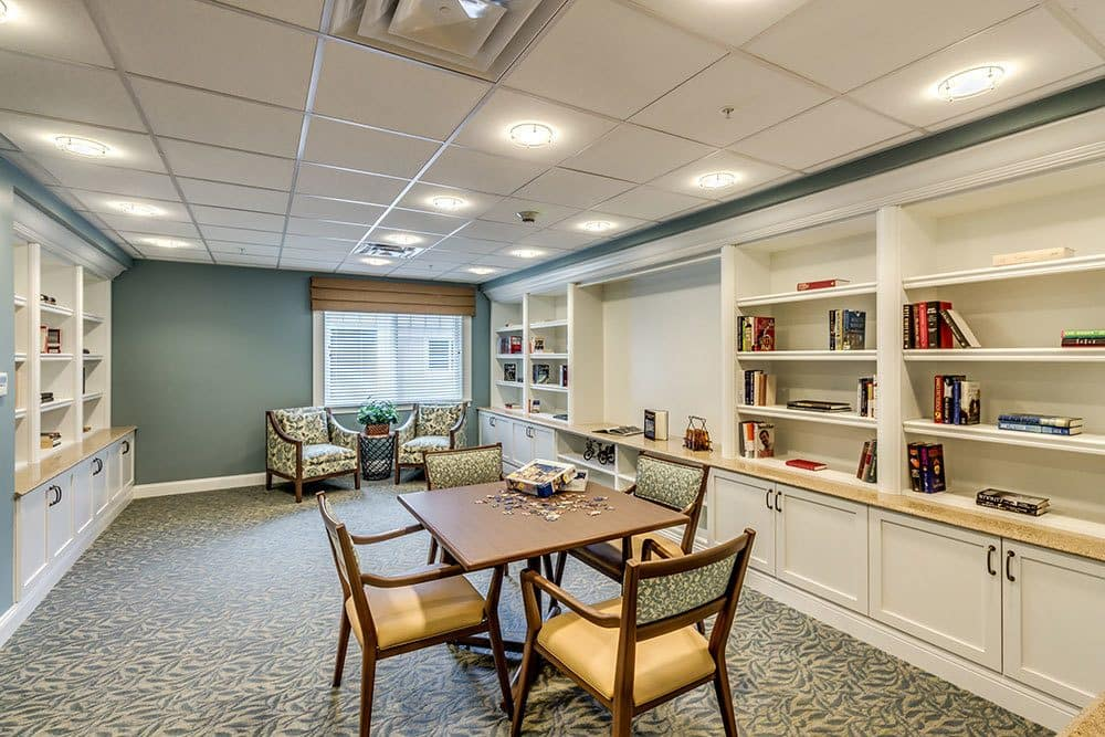 Senior living in Naples features a private library